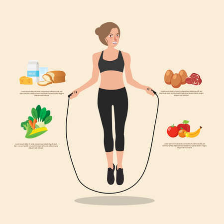 measuring cup: Cute sporty girl jumping with skipping rope. Creative flat style design illustration. Sport training, healthy food Illustration