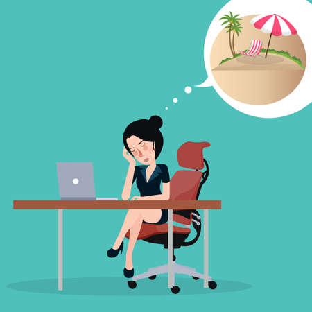 Girl dreaming about vacation. Sitting in the office at the workplace dream about holidays