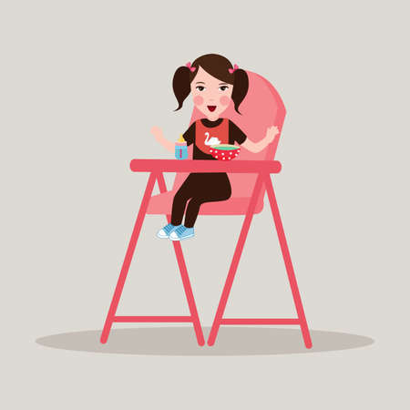 high chair: little smiling girl have a breakfast food sitting in kids high chair Illustration