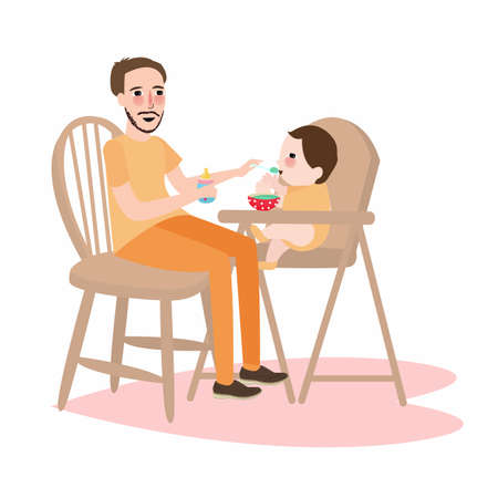 high chair: dad father give food to his little boy baby, have a breakfast food sitting in kids high chair Illustration