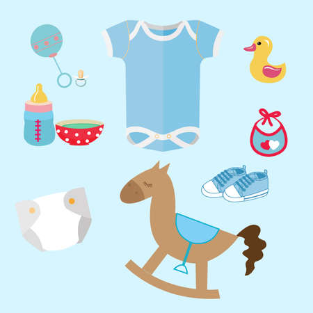 baby stuff and toys icon set collection romper suit, cute toy, pacifier, dummy, baby s booties