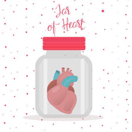 Red heart inside glass jar. Vector Illustration isolated on white background. Ilustração