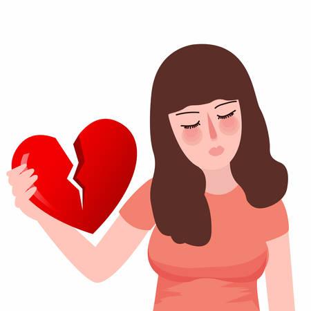 Red crepacuore cuore spezzato o divorzio ragazza piatta infelice triste Archivio Fotografico - 70551018