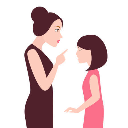 angry mother to her daughter girl scolds her child arguing Vector Illustration