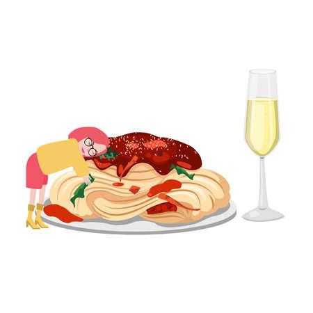 food lover spaghetti and wine Italian food dinner