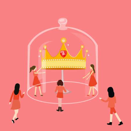 meisje op zoek naar de kroon in een glas competitie Stock Illustratie