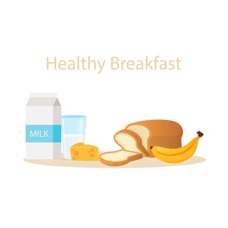 Milch, Brot, Käse Banane gesundes Frühstück Vektor-Illustration Cartoon Standard-Bild - 70913634