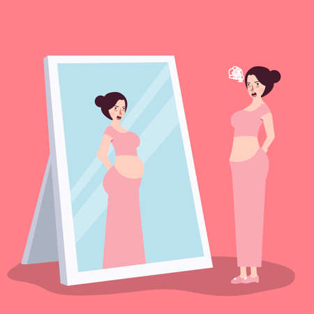 girl feeling fat over-weight when looking at mirror