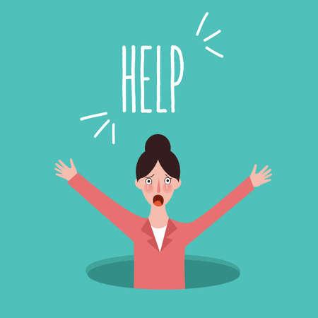 Vrouw vragen om hulp verdrinking concept in last probleem crisis vector