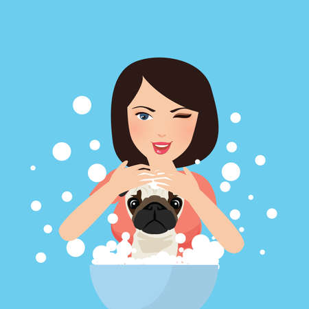 groomer: Young professional pet groomer washing dog bathing with soap vector illustration