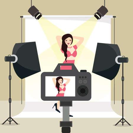 Sesión de fotos en estudio niña disparar detrás de la cámara de equipos estroboscópico fondo de iluminación de vectores Foto de archivo - 71561569