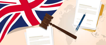 UK United Kingdom England Britain law constitution legal judgment justice legislation trial concept using flag gavel paper and pen