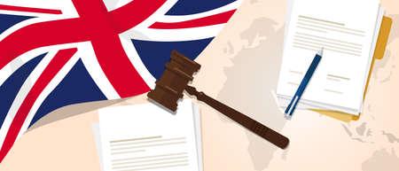 legislation: UK United Kingdom England Britain law constitution legal judgment justice legislation trial concept using flag gavel paper and pen