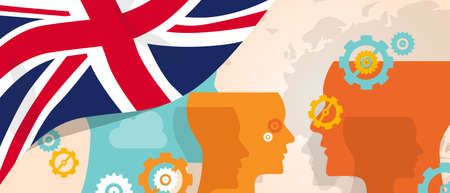 UK United Kingdom England Britain concept of thinking growing innovation discuss country future brain storming under different view represented with heads gears and flag vector