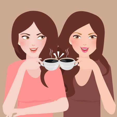 twee jonge meisjes praten in een cafetaria samen koffie drinken