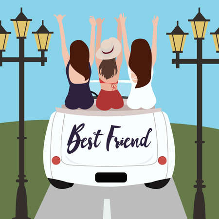 Group of best friends cheering on car road trip. Happy people outdoor on vacation tour adventure. Friendship concept.