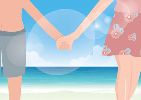 Happy couple holding hands on sea background Illustration