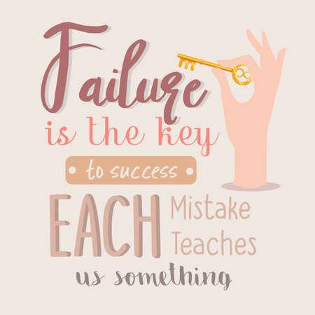 El fracaso es la clave del éxito cada error nos enseña algo cita vector de motivación Foto de archivo - 79756496