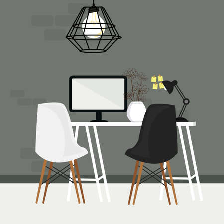 pair of chair in empty working space with computer monitor and lamp Illustration