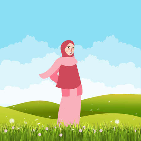 girl standing alone in green field land wearing veil scarf Illustration