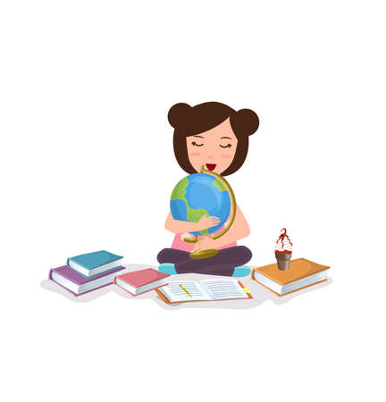 young girl kids studying reading book learning globe happy