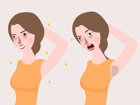 girl woman armpit smell body bad deodorant unpleasant expression vector