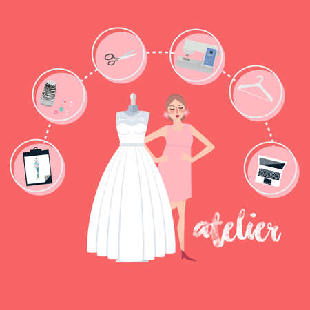 Atelier woman occupation bridal business textile icon flat style vector