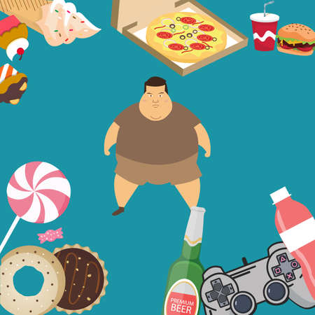 obese overweight man kids eating sugar candy donut junk food vector