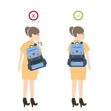 Girl backpack correct posture position good for back pain vector 向量圖像