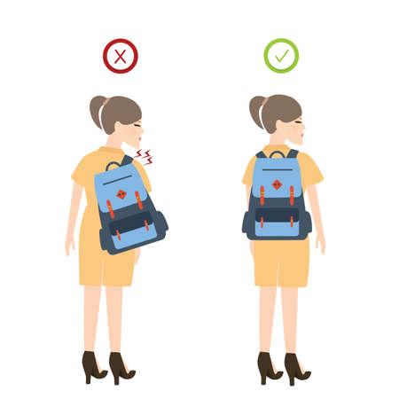 Meisje rugzak juiste houding positie goed voor rugpijn vector Vector Illustratie