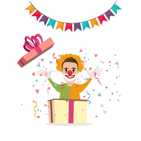 happy birtday: Clown surprise from box present party cartoon happy birtday decoration fun vector Illustration