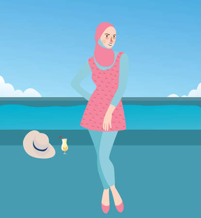 whole body: Burqini woman girl wearing swim suit with hijab islam clothes vector