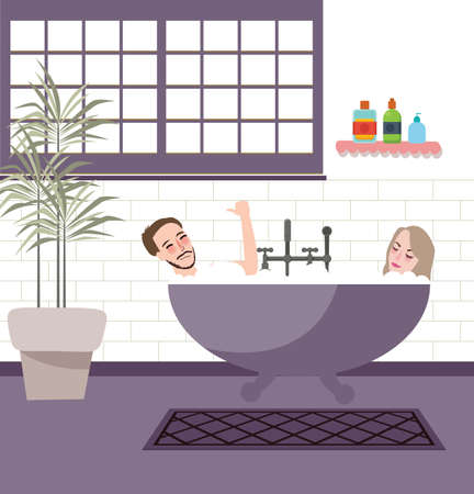 Couple together in bathroom jacuzzi bathup enjoy have fun