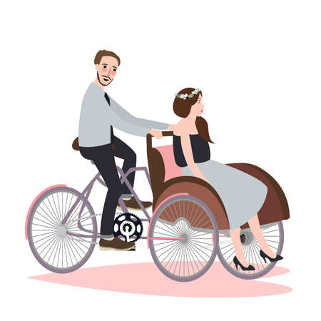 rickshaw: Couple ride tricycle rickshaw together have fun for wedding becak vehicle vector