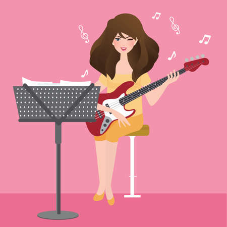 Girl playing guitar composing musical chord with note stand vector