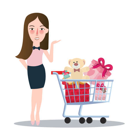 girl woman buying purchase presents toy doll push trolley cart