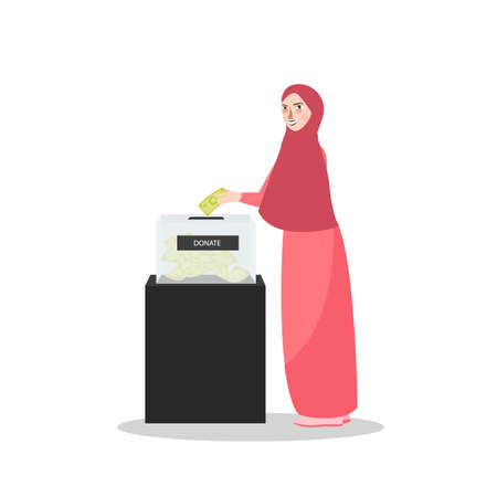 Girl put money into donation box Islam muslim charity the woman wearing veil scarf