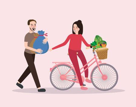 Pareja compra hortalizas equitación bicicleta feliz compras saludables masculino y femenino