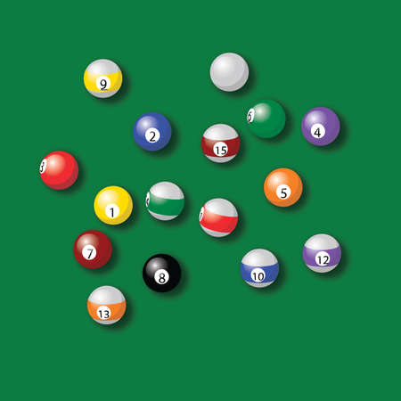 billiard balls pool in green table vector drawing illustration