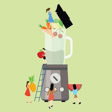 Together diet blender fruit healthy food processor fresh mixer. Illustration