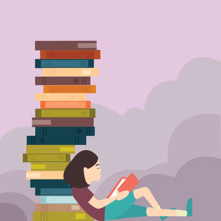 young girl reading book with pile of book lot 向量圖像
