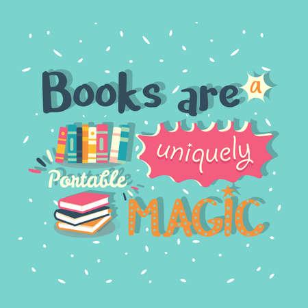 Books are a uniquely portable magic quote motivation poster vector
