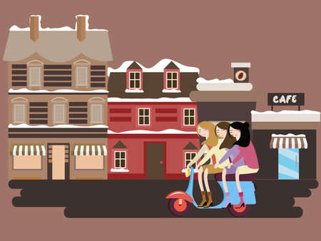 girls riding scooter in front of street old building europe vintge style facades vector