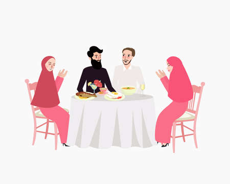 middle eastern food: Dinner Muslim woman and man enjoy food break fasting.