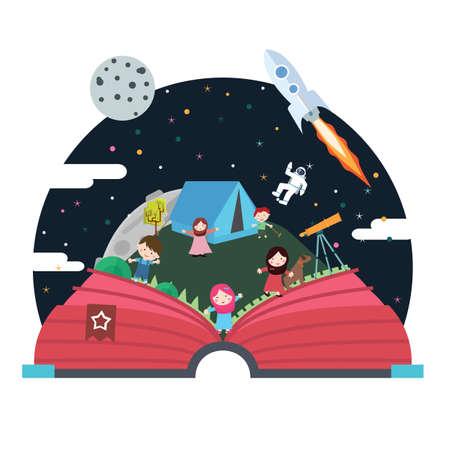 Pop-up boek kinderen illustratie ruimte astronaut hemel ruimteschip. Vector Illustratie
