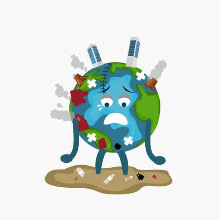 Globo de la tierra triste enfermo cansado de la contaminación calentamiento global deforestación llena de basura sucia daños ambientales