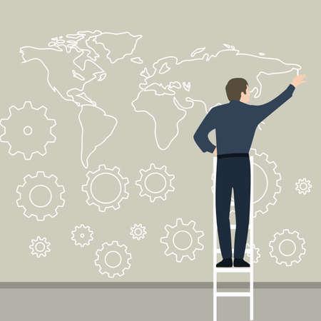 接続世界中のギア作品を計画の壁に地図を描くビジネスマン  イラスト・ベクター素材