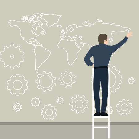 businessman drawing map on the wall planning connection world wide gear works