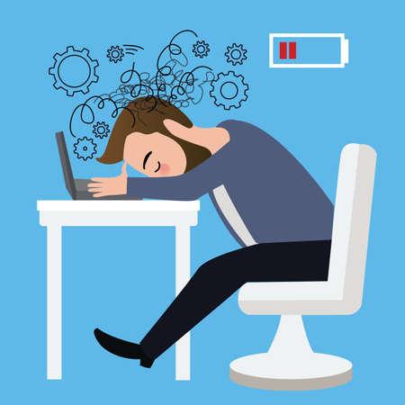 사업가 작업자는 노트북 테이블에 머리를 강조했다 화가 위기 앉아 우울증 경력 직업
