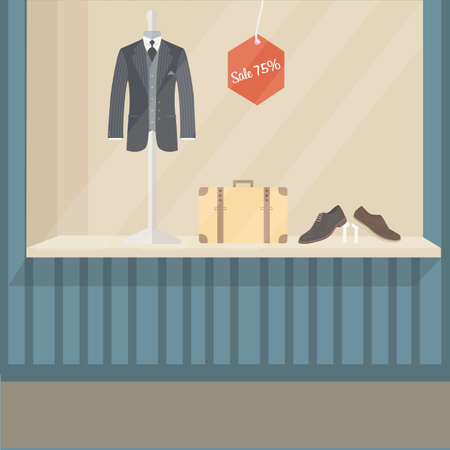 man suit fashion store front display mannequin shoe and bag empty no people Illustration